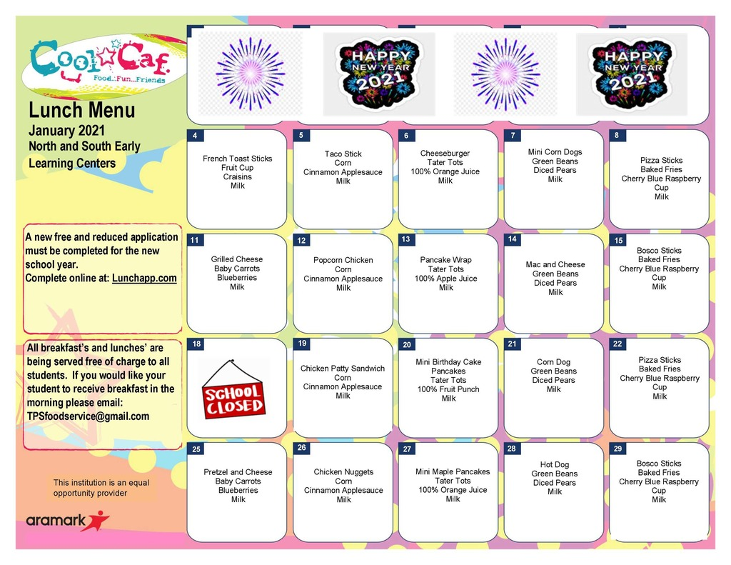 north and south elc menus
